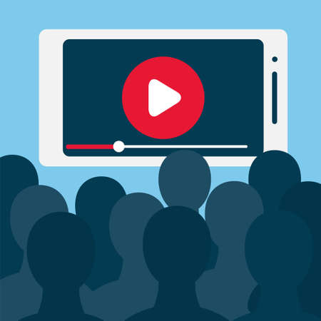 Grand nombre de téléspectateurs devant le grand écran du smartphone. Illustration vectorielle stock pour la diffusion en ligne, contenu mobile, home cinéma, regarder des émissions télévisées en direct, divertissement numérique et dépendance.