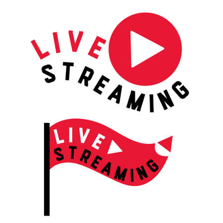 Live stream symbols in flag shape concept. Stock vector illustration for online broadcast, tv program, digital entertainment. Illustration