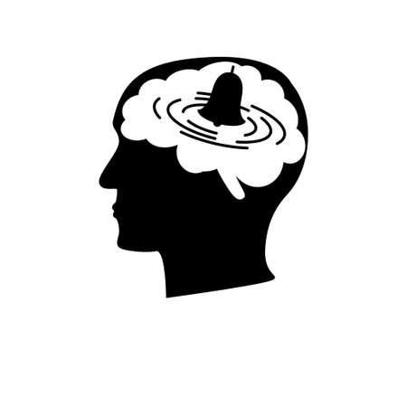 Angststoornis pictogram. Voorraad vectorillustratie van een menselijk profiel met een bel die in hersenen rinkelt. Psychologie illustratie voor stress, obsessief-compulsieve stoornis, adhd, fobie, manie, paranoia.