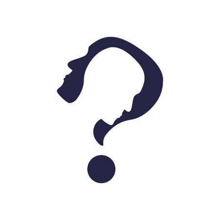 Psychologie logo pictogram geïsoleerd op een witte achtergrond. Voorraad vectorillustratie van een menselijk hoofd met uitgesneden profiel binnen in de vorm van een vraagteken.