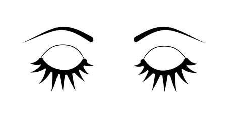 curler: Closed eye with long eyelashes isolated on white background. Stock vector illustration of logo for make-up service, beauty salon procedure, make up artist. Illustration