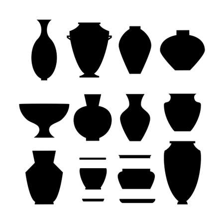Pottery icon set. Stock vector illustration of classic pot and bowl black silhouettes. Handmade ceramic vase and jar.