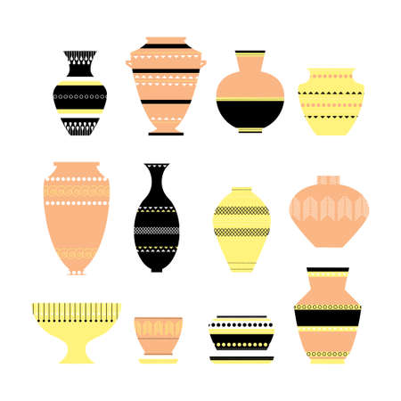 Pottery icon set. Stock vector illustration of classic pot and bowl. Handmade decorated ceramic vase and jar. Flat style Illustration