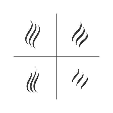 Odeur arôme et jeu de signe de chaleur. Illustration vectorielle stock d'odeur et de parfum ou de silhouettes de vapeur chaude par 3 lignes isolées sur fond blanc.