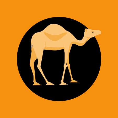 Camel icon. Stock vector illustration of a desert animal in flat style Çizim