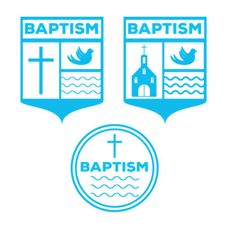 Baptism invitation badge template. Stock vector illustration for christening ceremony, communion or confirmation