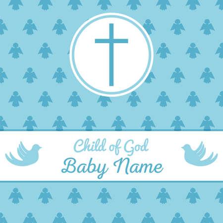 洗礼招待状カードのテンプレート。赤ちゃんの洗礼式、聖餐式や確認の株式ベクトル図