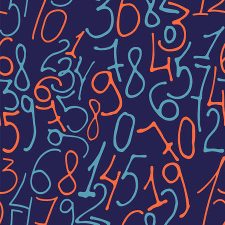 Hand drawn numbers. Stock vector illustration of a seamless pattern from numerical elements in bue and red.