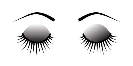 Closed eye with long eyelashes isolated on white background. Stock vector illustration of logo for make-up service, beauty salon procedure, make up artist. Illustration