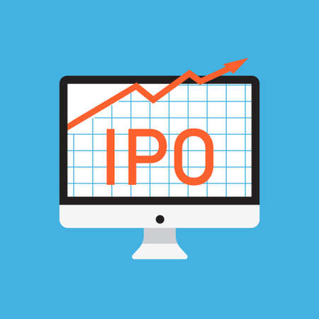 Initial public offering concept; Stock vector illustration of IPO launch with arrow going up on computer screen in Flat style design. Illustration