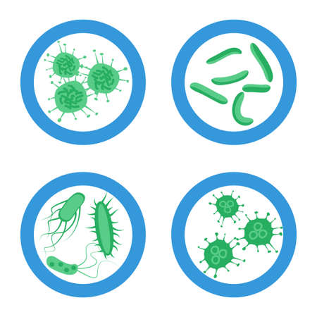 Probiotics good bacteria sign set, Stock vector illustration with different germs in blue circle symbol in Flat style design.