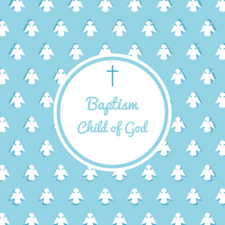 Baptism invitation card template. Stock vector illustration for baby christening ceremony, communion or confirmation