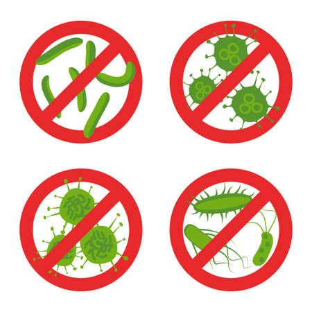 arrêtez des bactéries signent set. illustration vectorielle avec différents germes dans le symbole de cercle rouge tag pour les cercles de style de vecteur de brevet
