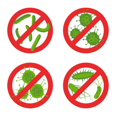 Stop bacteria sign set. Stock vector illustration with different germs in red alert circle symbol for antibacterial products. Flat style.