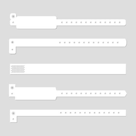 Wristband template set. Stock vector illustration of blank clean white bracelets for music perfomance, dance, live concert, sport events, fan zone entrance. Mockup collection. Stock Illustratie