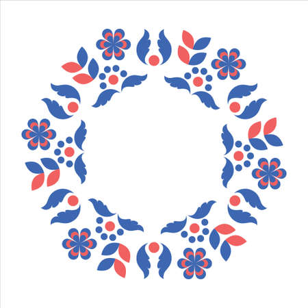 Circle frame with scandinavian folk elements. Stock vector illustration of finnish nordic swedish norvegian floral wreath in blue and red colors. Stock Photo
