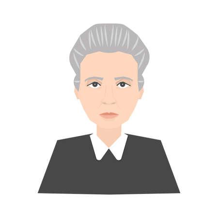 有名な科学者マリー・キュリーの肖像画は、白い背景に隔離されています。有名人、ノーベル賞受賞者、物理学者のストックベクトルイラスト。