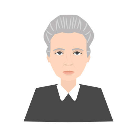 Famous scientist Marie Curie portrait isolated on white background. Stock vector illustration of a celebrity person, nobel prize winner, physicist. Stok Fotoğraf