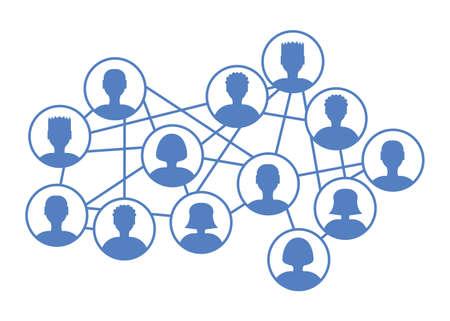 ソーシャル クラウドの概念。相互接続されたシステム、コミュニティ、ソーシャルネットワークにおけるユーザーアイコンのストックベクトル図。
