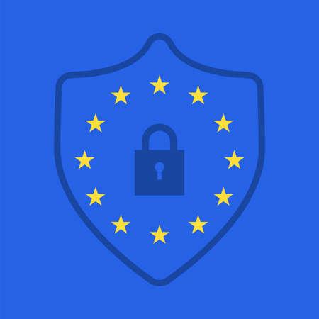GDPR の概念。一般データ保護規則のためのEUフラグスターと南京錠のストックベクトル図。  イラスト・ベクター素材