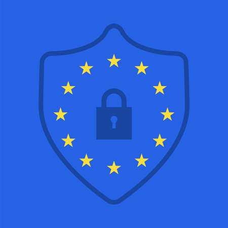GDPR concept. Stock vector illustration of padlock with EU flag stars for General Data Protection Regulation. Иллюстрация