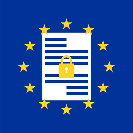 GDPR concept. Stock vector illustration of padlock with EU flag stars on a sheet of paper with some information blocks for General Data Protection Regulation.