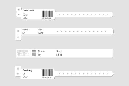 Wristband template set. Stock vector illustration of white clean bracelets with barcode for health institution, medial center, hospital.