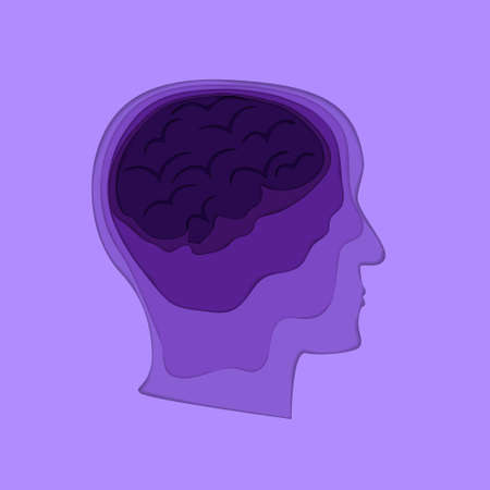 Papercut human profile depression concept. Stock vector illustration of man head and brain with dark birds inside by violet layers in paper cut style.