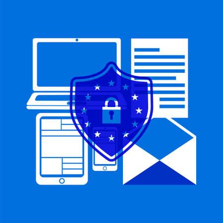 GDPR-Konzept. Vektorillustration auf Lager des Vorhängeschlosses mit EU-Flaggensternen, die verschiedene private Informationen auf Computer- und Telefonschirmen für allgemeine Datenschutzverordnung schützen. Vektorgrafik