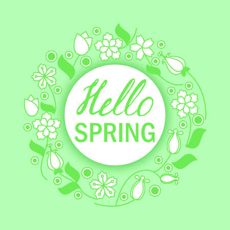 Hello spring greeting card. Stock vector illustration of flower wreath frame and lettering.