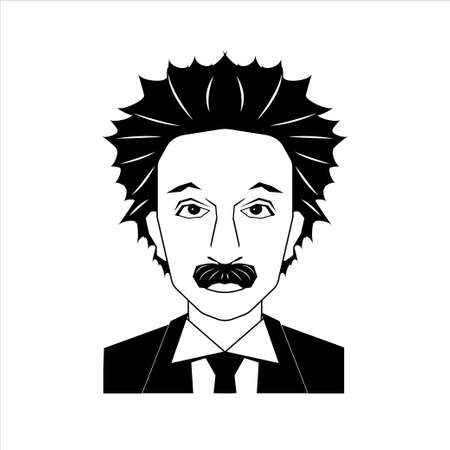 December 18, 2017: Famous scientist Albert Einstein portrait isolated on white background. Stock vector illustration of celebrity person, physicist. Editorial use only.
