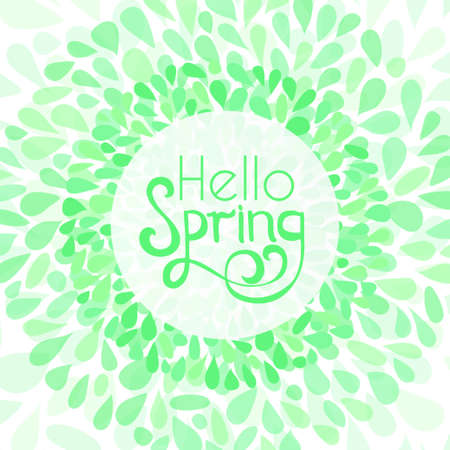 Hello spring greeting card. Stock vector illustration of floral petals wreath frame and lettering in green colors. Illusztráció