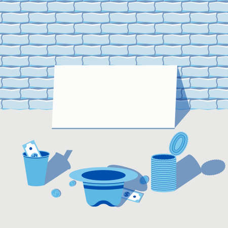 Begging for money scene with a blank tablet, a paper cup, hat and a can and a couple of dollars and coins. Stock vector illustration in flat cartoon style.