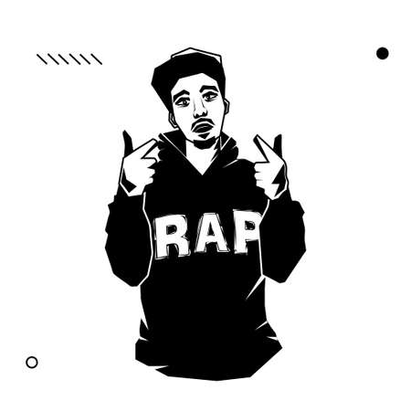 Young male rapper with pointing hands isolated on white background. Stock vector illustration of rebelious youth, modern lifestyle person, rap music singer.