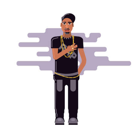 Young male rapper standing with right hand on his heart isolated on white background. Stock vector illustration of rebelious youth, modern lifestyle person, rap music singer in flat style.