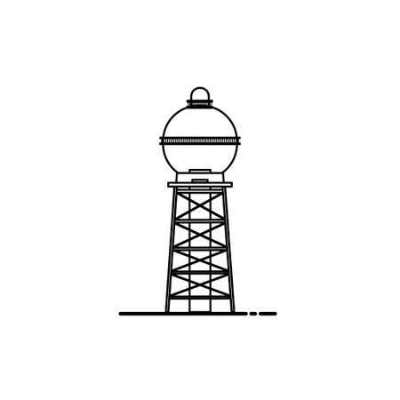 Water tower building icon of industrial construction with reservoir vector illustration