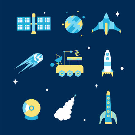 Cosmos icon set. Stock vector illustration of space related objects rockets, space ship, planet, satellite, astronaut helmet, shuttle, asteroid in flat style. Illustration