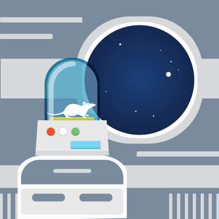 Experiment in a spaceship concept. Stock vector illustration of a mouse on board of space ship or station. Flat style.