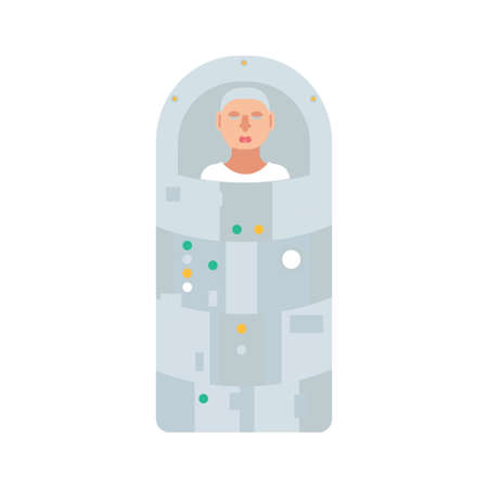 Astronaut in hibernation capsule. Stock vector illustration of a space ship passenger or a crew member in a special sleep capsule for deep space travelling. Illustration