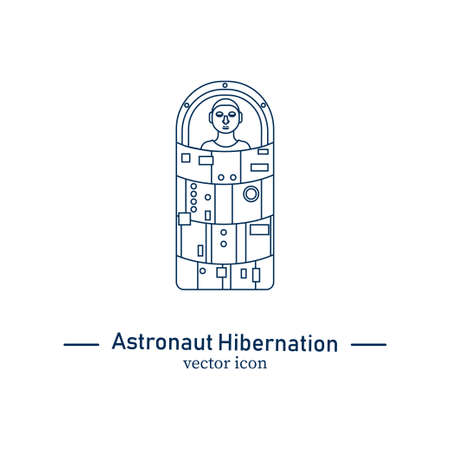 Astronaut in hibernation capsule icon isolated on white background. Stock vector illustration of a space ship passenger or a crew member in a special sleep capsule for deep space travelling. Illustration