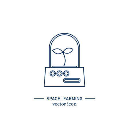 Experiment in a spaceship icon. Stock vector illustration of green plant growing in outer space.