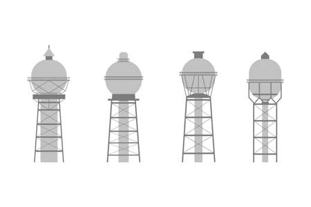 Water tower building icon set. Stock vector illustration of industrial construction with water reservoir in flat style. Illustration