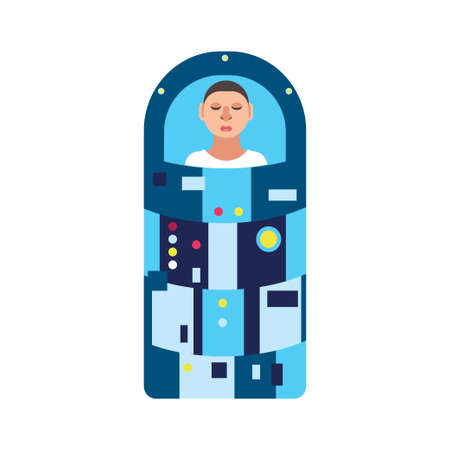 Astronaut in hibernation capsule. Stock vector illustration of a space ship passenger or a crew member in a special sleep capsule for deep space travelling. Flat style.