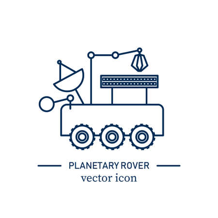 Planetary rover icon. Stock vector illustration of modern vehicle for exploring the surface of new planets in space. Outline icon isolated on white background.