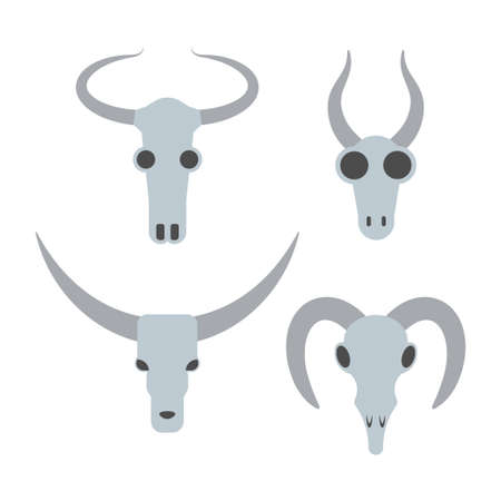 Animal skull set. Stock vector illustration of bull, cow, cattle, goat, buffalo skull. Flat style.