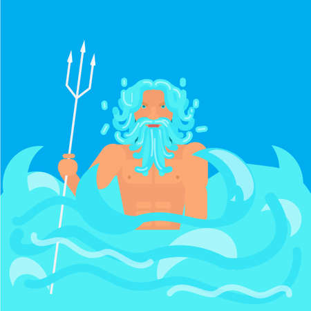Olympic god Poseidon . Stock vector illustration of myth creature Neptune, god of freshwater and the sea. Flat style