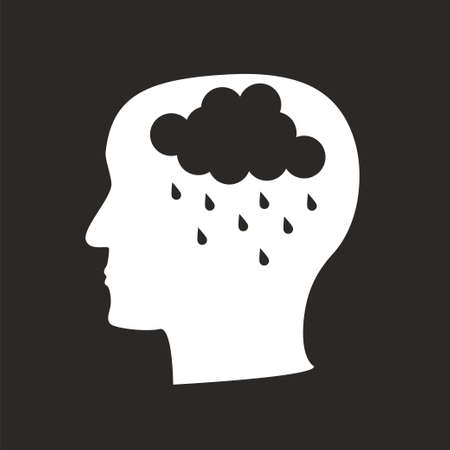Depression mental disease icon. Stock vector illustration of a human profile with a raining cloud on brains place.