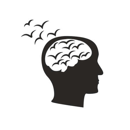 Depression mental disease icon. Stock vector illustration of a human profile with black birds flock flying from brain. Intrusive thought concept.