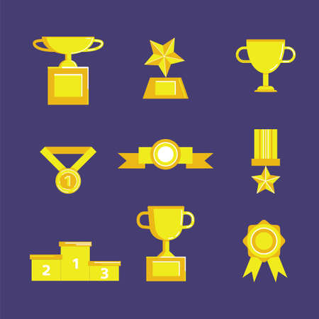 Prize and award icon set. Stock vector illustration of medal, trophy, cup for winning in sport and other competition. Flat style.