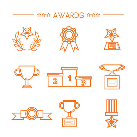 Prize and award icon set. Stock vector illustration of medal, trophy, cup for winning in sport and other competition. Outline style. Illustration